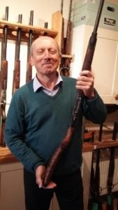 Client with a newly converted cross-over shotgun