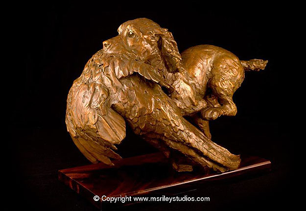 Shooting sports sculpture by renowned sculpter Maureen S Riley, exclusively available at Castle Gunmakers